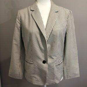 Ann Taylor LOFT blue/white blazer, size 10